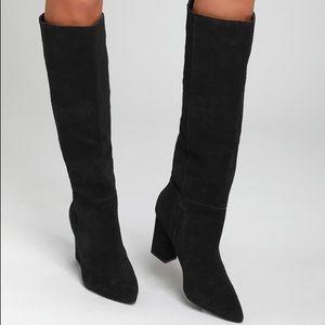 Black suede Steve Madden Raddle knee high boots